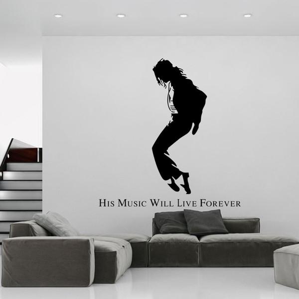 Großhandel Michael Jackson Schwarz Porträt Wandaufkleber Mj Silhouette Wandtattoos Kreative Tanz Tapete Poster Englische Wörter Wand Applique Zitat