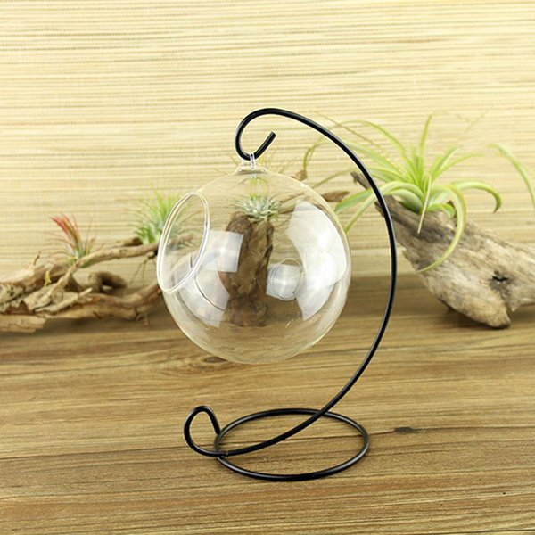 Wholesale- Glass Ball Hanging Holder Iron Candlestick Candle Stand Light Holder Without Glass Ball Holder Crystal Flower Vase Plant Stand