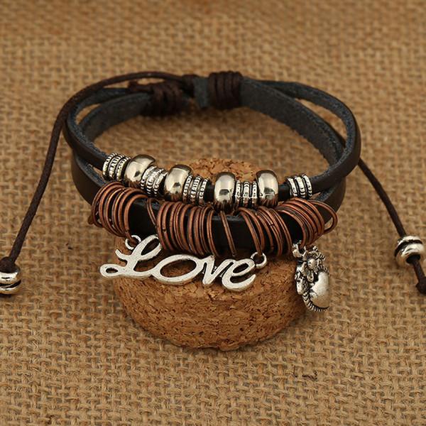 Mens Love Heart Leather Wrap Bracelet Jewelry Genuine Handmade Alloy Charms Bracelets Wristbands Designs free shipping