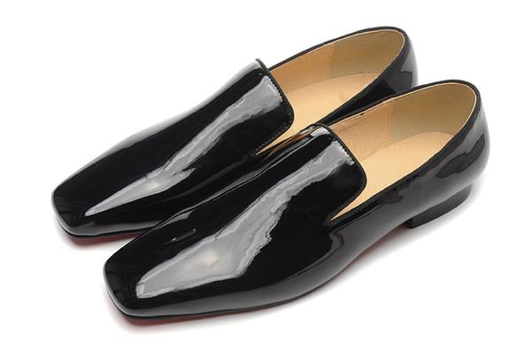 Free shipping Hot New Brand Sheepskin Men's Shoes Men Black coat paint Leather Flats Men's Business shoes