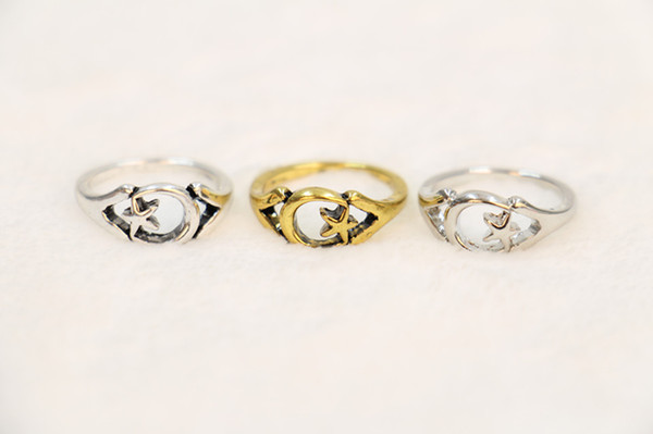 Fashion products sell like hot cakes made by hand of the Lord of the rings of the moon star ring wholesale free shipping