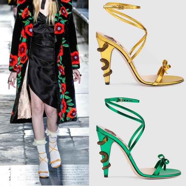 Sandalias de gladiador de cuero entrecruzadas de cuero de verano dorado Serpientes de serpiente metálicas de alto talón de bombas Zapatos de arco de dama de Mary Jane zapatos de novia con tira de tobillo