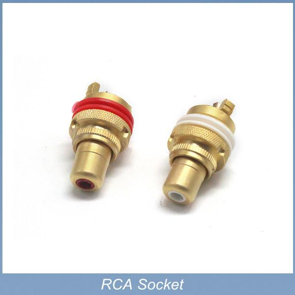 Free shipping 4pcs(2pairs)/lot TaiWan Pure copper RCA female Panel Mount plug