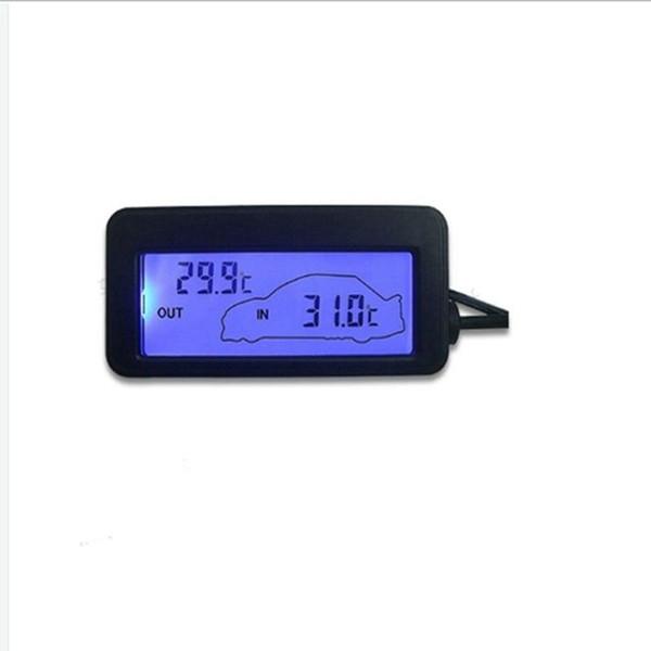 Termometro auto Mni nero DC 12 V interno / esterno termometro auto blu retroilluminato con sensore cavo 1,5 m spedizione gratuita
