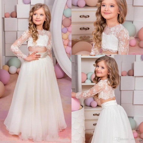 New Princess Puffy First Communion Dress with Belt 2017 Flower Girls Dresses for Wedding Lace Tulle White Ivory Pink Custom Size