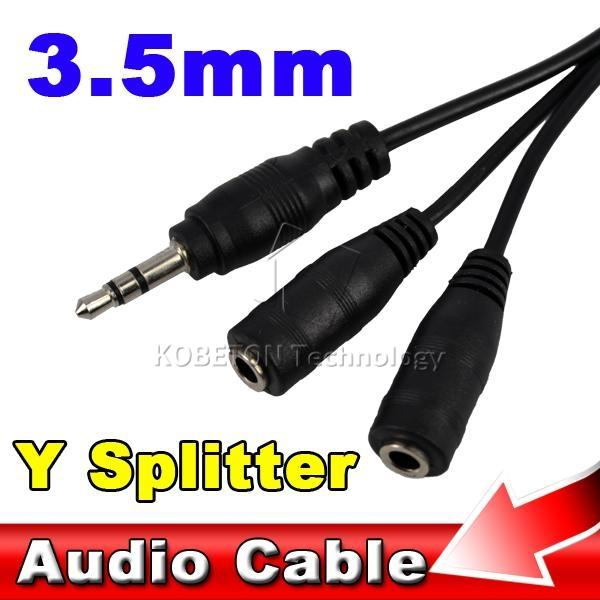 Universal Stereo Jack 3.5mm Male to Dual Female Audio Cables Splitter Earphone Headphone for Smart Phone MP3 PC Media Player etc