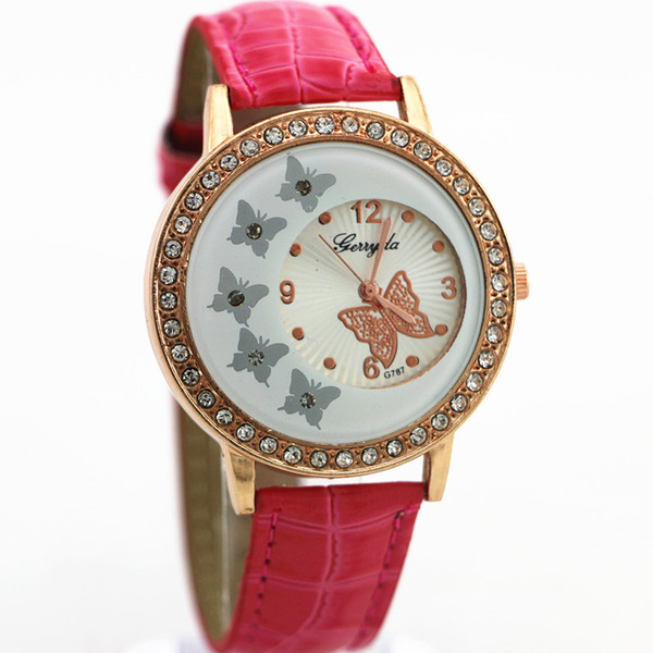 Free shipping!PVC leather band,gold case with crystal circle,butterfly UP dial,quartz movement,Gerryda fashion woman lady leather watch,787