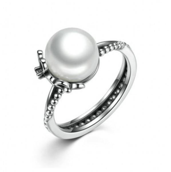 2017 été nouvelle bague en argent Sterling 925 florale avec perle de culture d'eau douce blanche cristal émail noir s'adapte aux bijoux européens BF377
