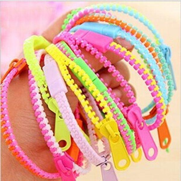 Zipper bracelet trendy zipper bracelet plastic zip wristband candy bracelet Popular