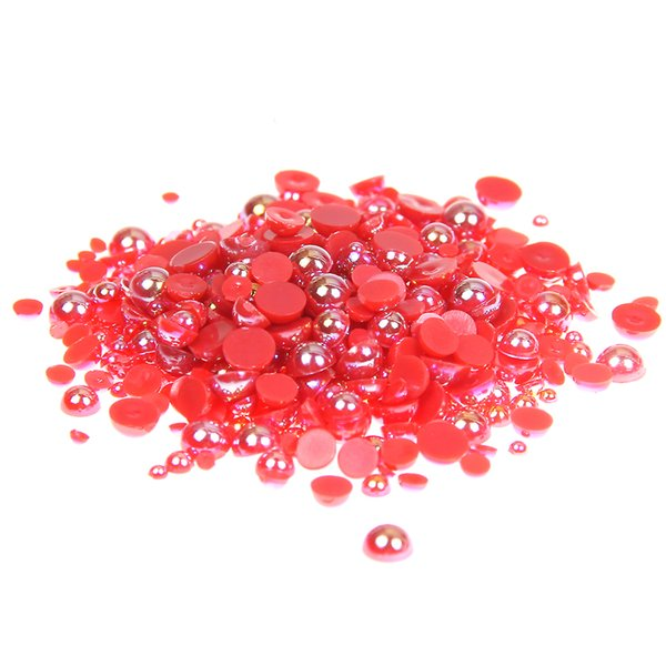 CRAFTS 3mm  HALF ROUND RESIN *PEARL BEADS* FOR NAIL ART RED