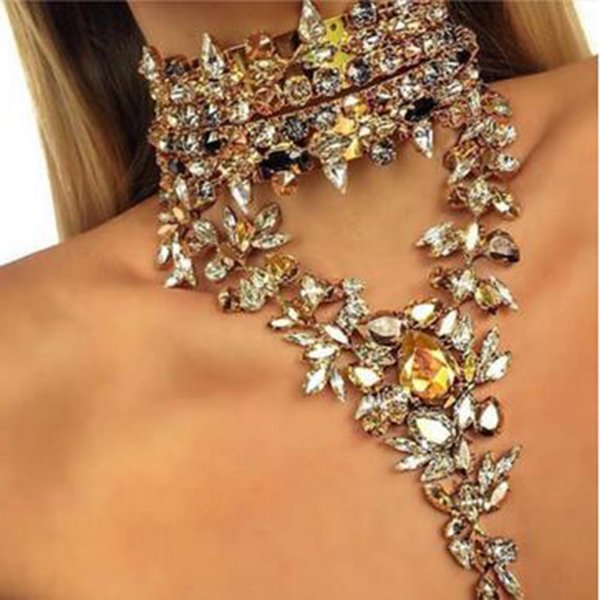 Wholesale- Best lady 2016 New Fashion Luxury Crystal Chokers Pendant Maxi Statement Necklace Women Wedding Charm Hot Sexy Collier Cute 4048