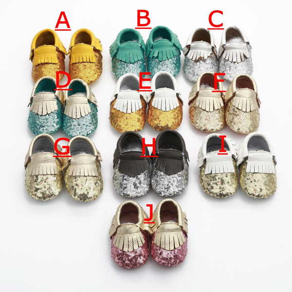18Pairs Baby fringe sequin moccs infant gold yellow silver moccasins soft leather moccs toddler booties 10colors choose freely