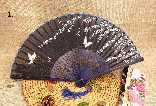 Винтаж китайский японский шелковые бабочки цветок Сакура складной бамбук ручной вентилятор свадебные сувениры партии Пром подарок ZA0952