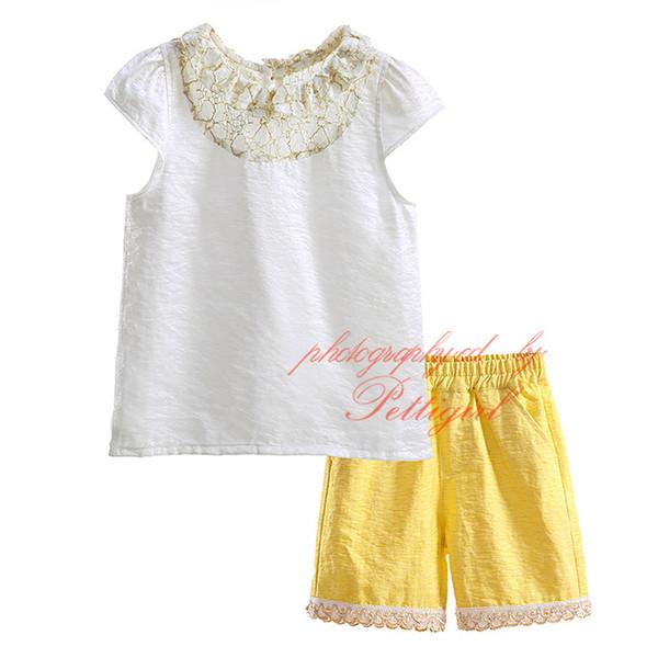 Pettigirl New Summer Neonate Abbigliamento Completi Bianco Top 2 pezzi Giallo Pantaloncini Ragazze Pantaloni Suit Senza maniche Vestiti per bambini DMCS81020-3L