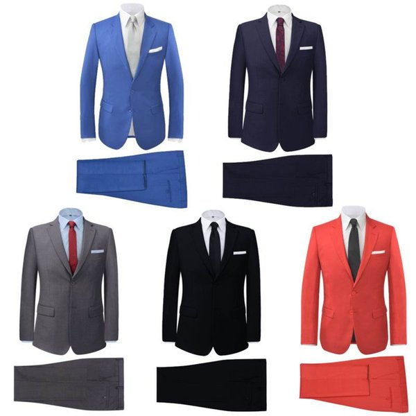 men suit slim fit New Silm Fit Best Man Suit Blue Groomsman Mens Wedding Prom Suits