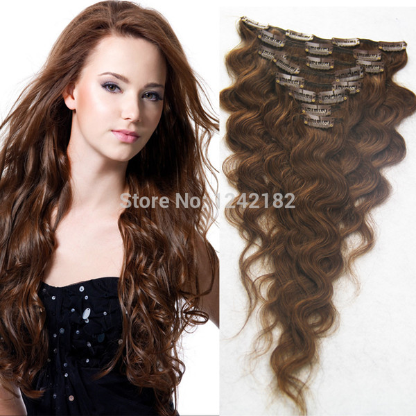 7pcs Clip In Hair Extension 100% Brazilian Human Hair 7A Unprocessed Virgin Body Wave Puer Color Clip In Hair 10-30""