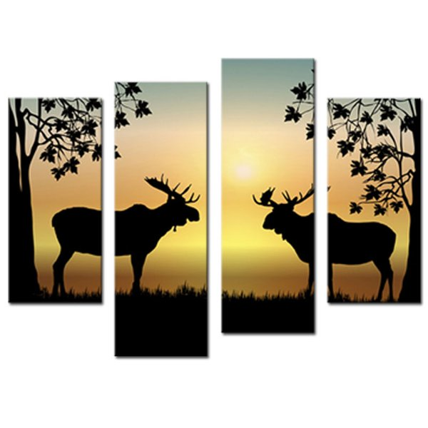4 Pieces Winter Deer Picture Wrapped Canvas Print Shows 2 Deer with wood Wooden Framed Antler Racks Wildlife Wall Decor