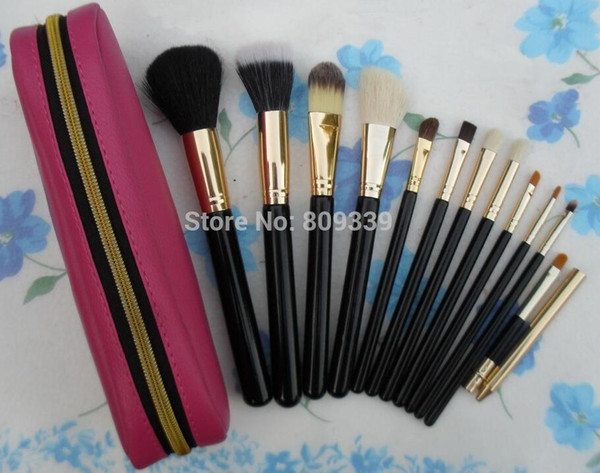 5 PCS 2016 NEW good quality Lowest Best-Selling good sale makeup NEW 12 SET MAKEUP BRUSH LEATHER BAG