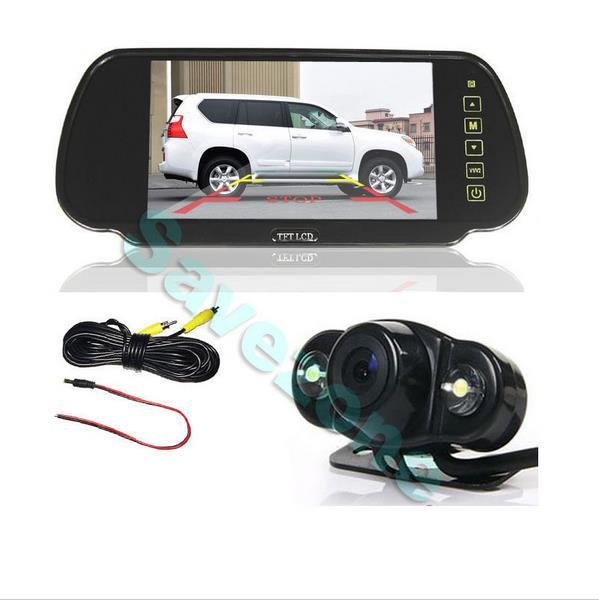 "Parking Kit With 7"" TFT LCD Display Car Rear View Mirror Monitor + 2 LED Reversing Camera 170"