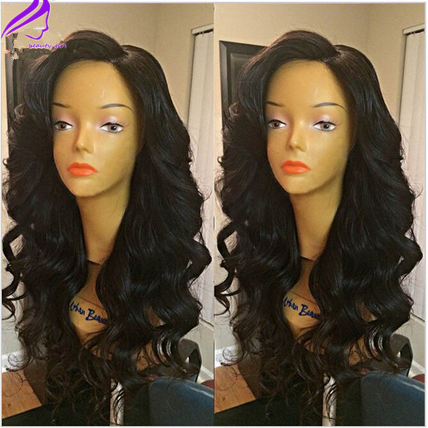 Free shipping 180% density heat resistant synthetic lace front wig body wave synthetic wig natural hairline for black women