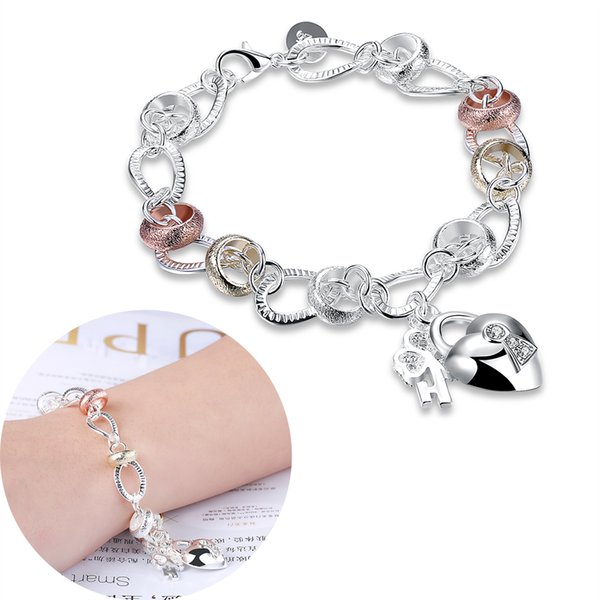 Inlaid Heart Lock Charms Crystal Bracelet 3 Color Fashion Jewelry 925 Sterling Silver Chain Bracelets Beauty Romantic Gifts Girls Love