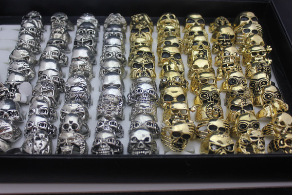top popular Wholesale Skull Skeleton Gothic Alloy Rings Wholesale New Gold And Sliver Punk Style Rings For Mens 2020
