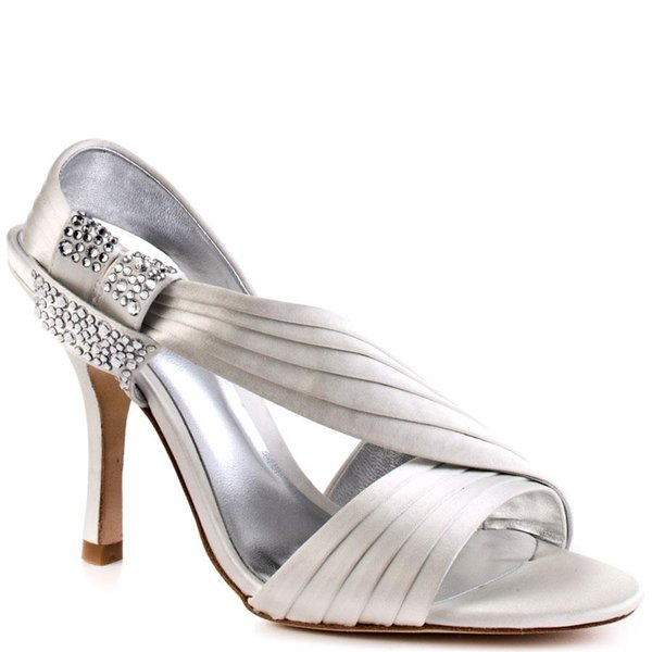 Silver Wedding Shoes Satin Open Toe Sandal For Women Rhinestones Thin High Heels Fashion Sandals 2015 Women High Heels Sandal For Women