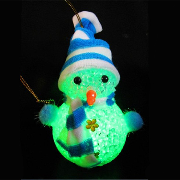 Children's crystal snowman discus a night light Christmas gift furnishing articles led light-emitting toys ornament