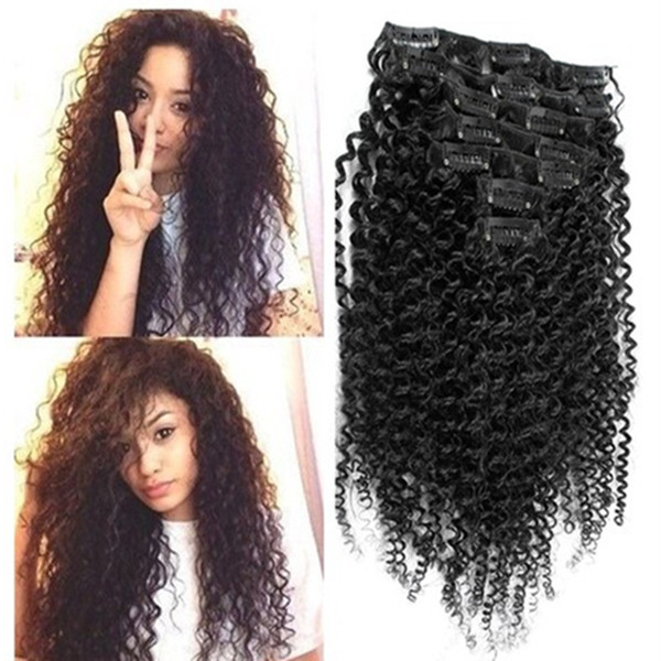 African American Afro Kinky Curly Clip In Human Hair Extension Full