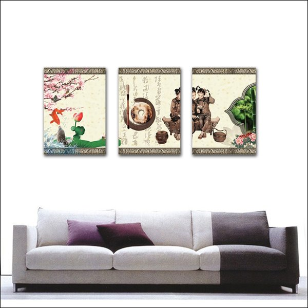 unframed 3 Pieces art picture free shipping Home decoration Canvas Prints writing brush fish Jade Lotus leaf girl Plum stone carving