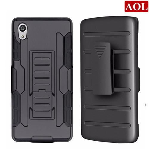 For Sony Xperia M4 Aqua e2306 Z5 E6603 E6633 Future Armor 3in1 Hybrid Hard Phone Case Cover+Belt Clip Holster Kickstand Combo