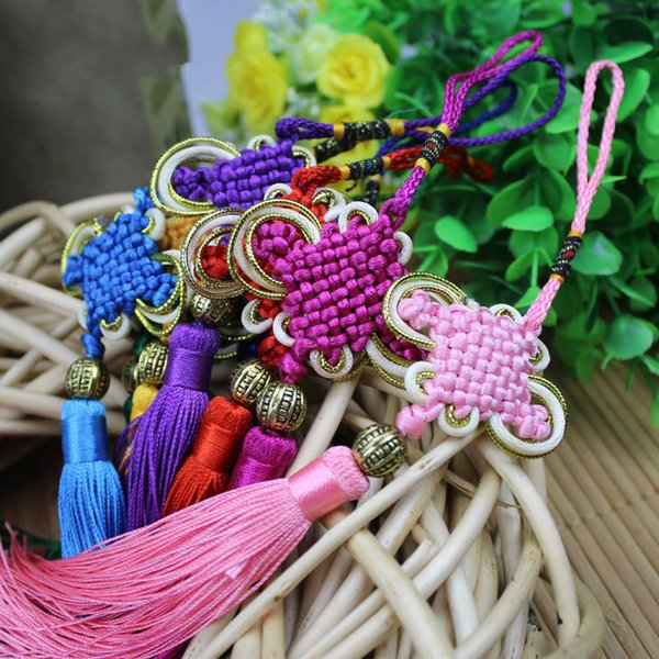 best selling Handmade Satin Silk Chinese Knot with Soft Tassels for Wealth Good Fortune Gift Home Office Decoration Car Hanging Decoration