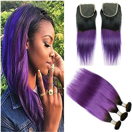 Two Tone 1B Purple Ombre 4x4 Lace Top Closure with 3Bundles Straight Dark Root Purple Ombre Virgin Human Hair Weaves with Lace Closure