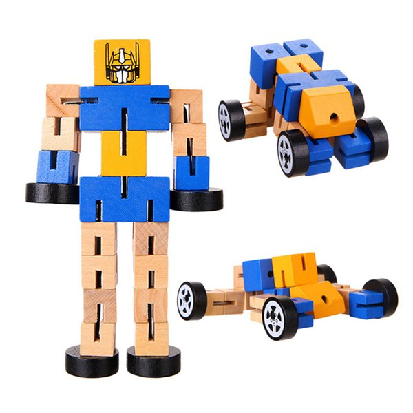 1 Pc Montessori Wooden Transformation Robot Building Blocks Kids Toys for Children Educational Learning Intelligence Gifts