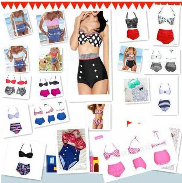 top popular High Quality 19 Design Fashion Cutest Retro Swimsuit Swimwear Vintage Pin Up High Waist Bikini Set HH 1000Set 2019