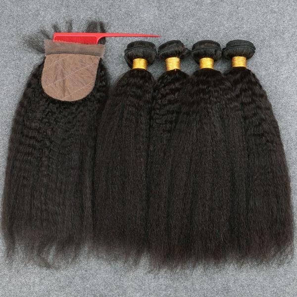 Silk Basis Schließung mit Bundles peruanischen verworrene gerade Webart Menschenhaar und Seide Top Verschluss italienische grobe Yaki reines Haar