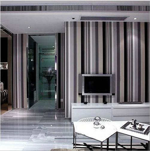 Mural wallpaper modern stripe roll solid color flock printing non-woven wall paper papel de parede tapete bedroom room renovator
