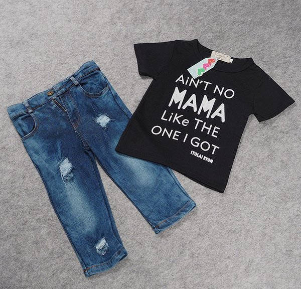 2016 fashion Children's clothing sets for summer f1806 baby boy suit set black letter printing t-shirts+jeans kids denim set