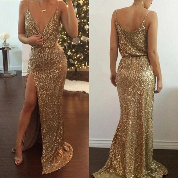 Sexy Gold Sequin Dresses Deep V NeckSpaghtti Prom Evening Gowns High Slit Long Formal Evening Dresses Special Occasion Evening Dresses Uk