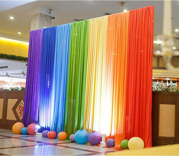 Sfondo di nozze di seta arcobaleno di ghiaccio Sfondo di matrimonio colorato sfondo decorazione festa di goccia colori per scegliere WT022