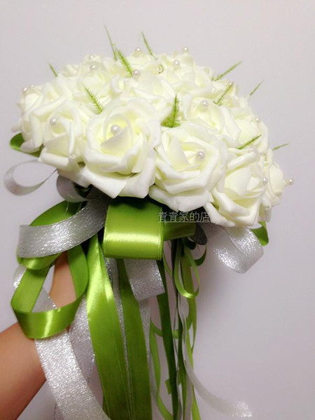 Cheap Beautiful Bridal Hand Holding Flowers Artificial Roses Flowers Pearls Wedding Bouquet White Perfect Wedding Favors DL1313067