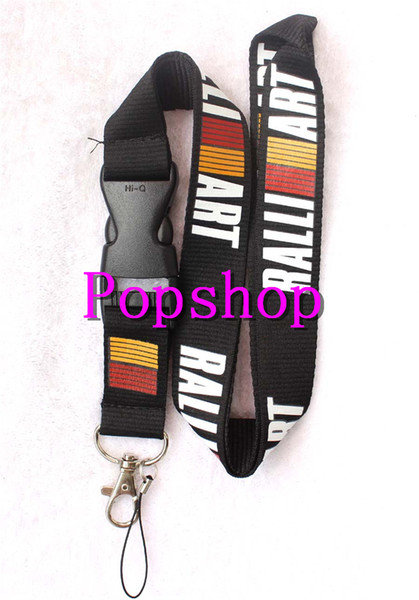 New 50Pcs RALLIART Popular Auto Logo Style mobile Phone Neck lanyard with Lobster Clasp Mobile phone Straps Keychain