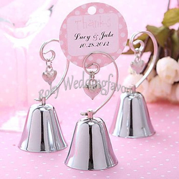 FREE SHIPPING 100PCS Charming Bell with Dangling Heart Charm Place Card Holder Wedding Reception Gifts Party Event Table Setting Favors