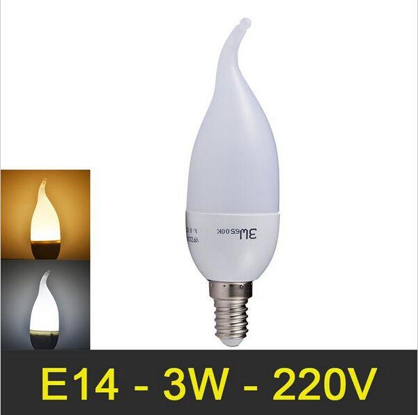NOUVELLE lampe LED E14 3W SMD2835 Super brillant LED Candle Light Ampoule LED Lampe de protection des yeux Warm White / White 220V