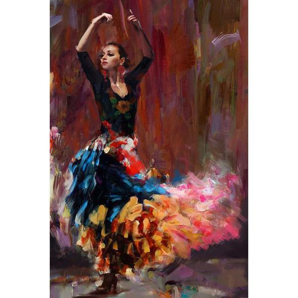 Abbildung Gemälde Flamenco Tänzerin spanische Kunst Frau Ölgemälde handbemalt