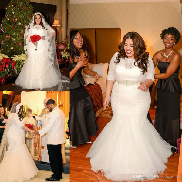 Plus Size Mermaid Wedding Dresses 2018 Hot Sale Bridal Gowns 1/2 Long Sleeves Lace Bodice Belted Sash Covered Buttons Back Sweep Train