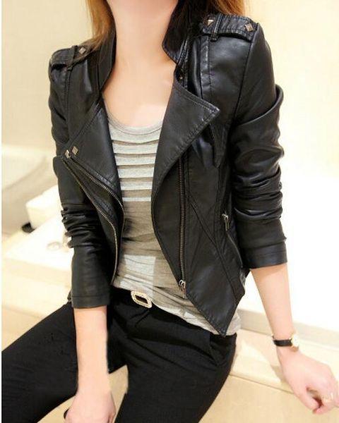 top popular New Korean female double collar leather jacket women's leather short coat female installed Ms. Slim collar leather jacket rivet 2020