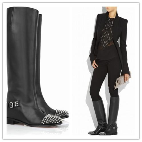 Hot Sale Women Black Leather Knee Boots Metal Rivets Punk Fashion Motorcycle Boots Comfortable Flat Heel Casual Boots