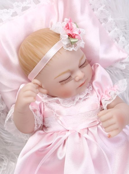 Little Peanut 10 Inch Baby Doll Reborn Girl Body Full Silicone Vinyl Princess Babies With Sleeping Eyes Kids Sleeping Toy