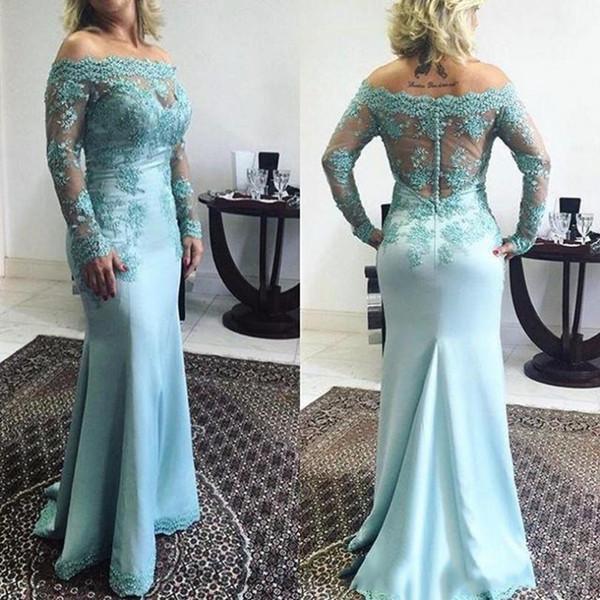 Off The Shoulder Mermaid Mother Of The Bride Groom Dresses Long Sleeve Lace Appliqued Light Sky Blue Women Formal Evening Wear For Wedding